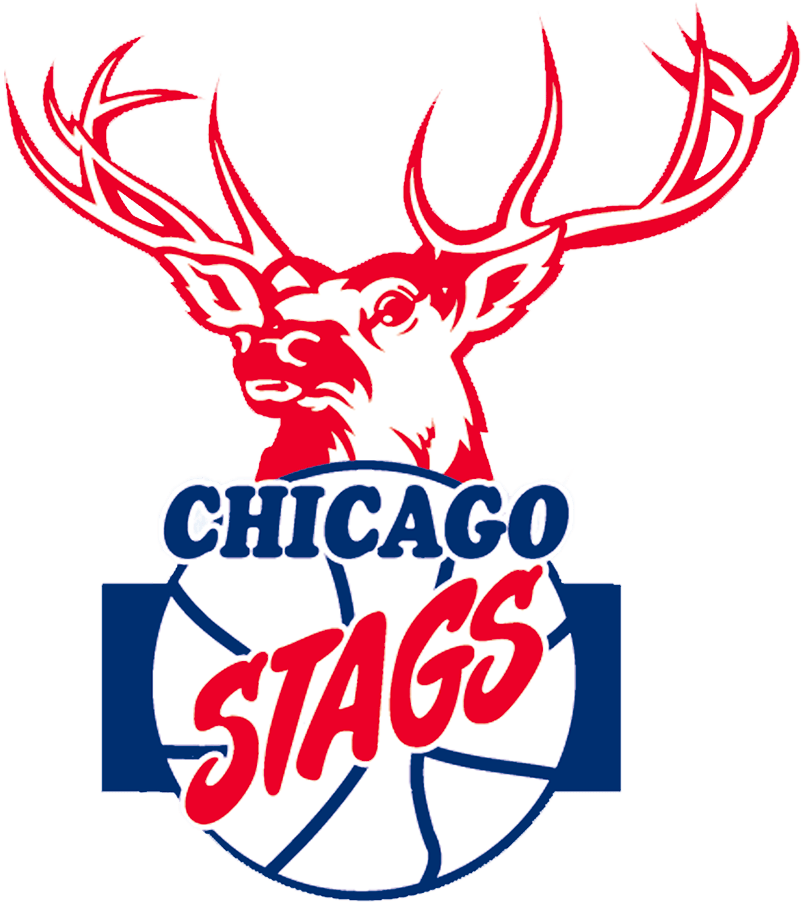 Chicago Stags Logo Primary Logo (1946/47-1949/50) - A deers head above a basketball with team name SportsLogos.Net