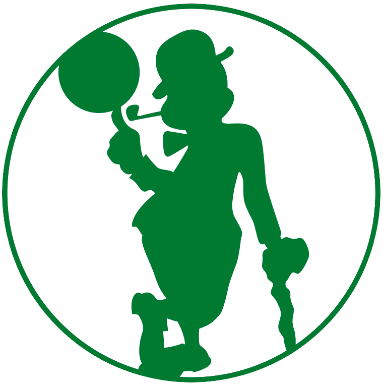 Boston Celtics Logo Alternate Logo (2014/15-Pres) - Silhouette of leprechaun spinning basketball on white circle SportsLogos.Net