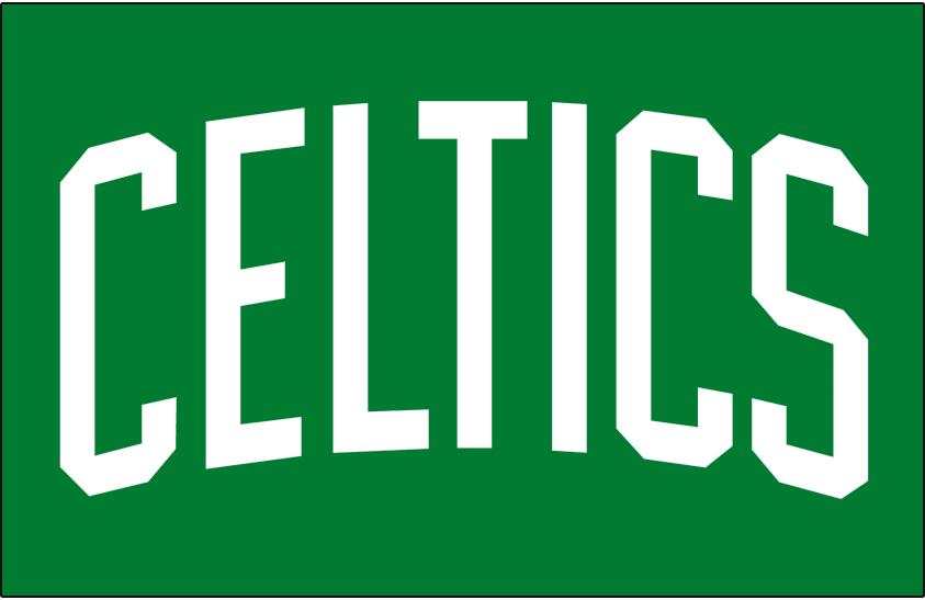 Boston Celtics Logo Jersey Logo (1969/70-Pres) - CELTICS in white arched on green - worn on Boston Celtics road jersey SportsLogos.Net