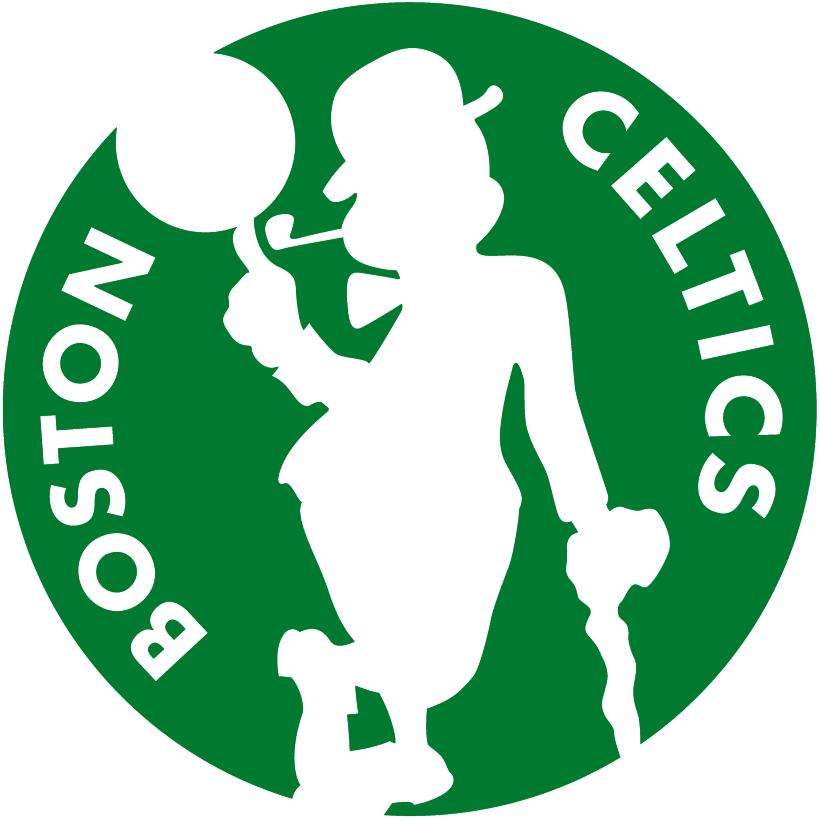 Boston Celtics Logo Alternate Logo (2014/15-Pres) - Silhouette of leprechaun spinning basketball on green circle with team name around SportsLogos.Net