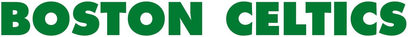 Boston Celtics Logo Wordmark Logo (1976/77-Pres) - BOSTON CELTICS in bold green Futura Extra Bold font SportsLogos.Net