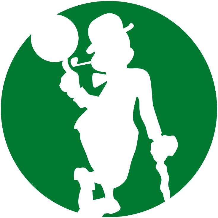 Boston Celtics Logo Alternate Logo (2014/15-Pres) - Silhouette of leprechaun spinning basketball on green circle SportsLogos.Net