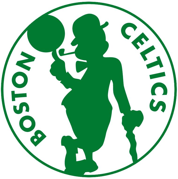 Boston Celtics Logo Alternate Logo (2014/15-Pres) - Silhouette of leprechaun spinning basketball on white circle with team name around SportsLogos.Net