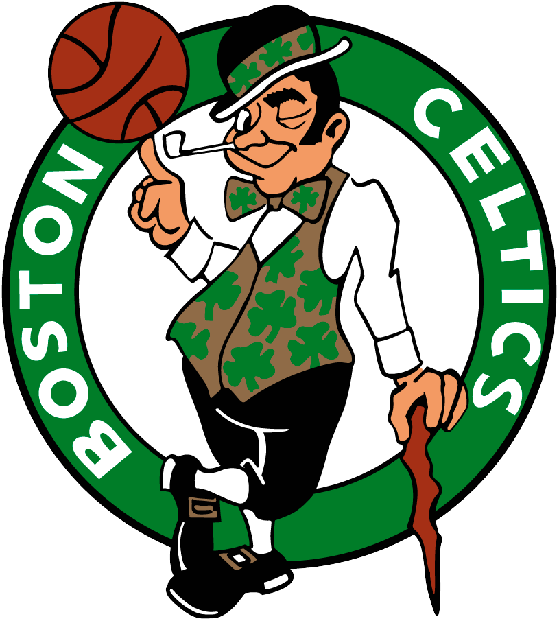 Boston Celtics Logo Primary Logo (1996/97-Pres) - Celtic in gold and black spinning a basketball while smoking in a green circle SportsLogos.Net