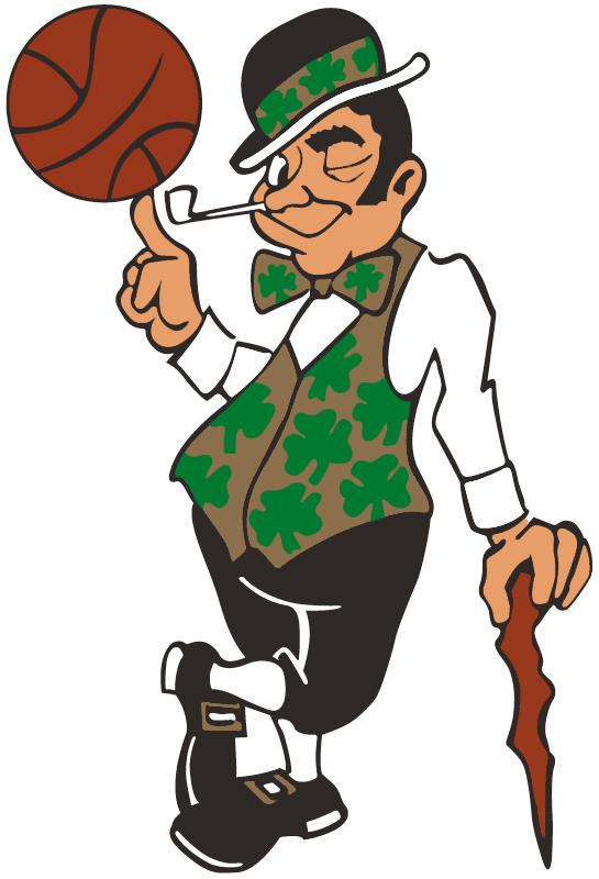 Boston Celtics Logo Alternate Logo (1995/96-Pres) - Celtic in gold and black twirling a basketball SportsLogos.Net