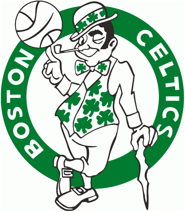 Boston Celtics Logo Primary Logo (1974/75-1995/96) - Celtic in green and white twirling a basketball in a green circle SportsLogos.Net