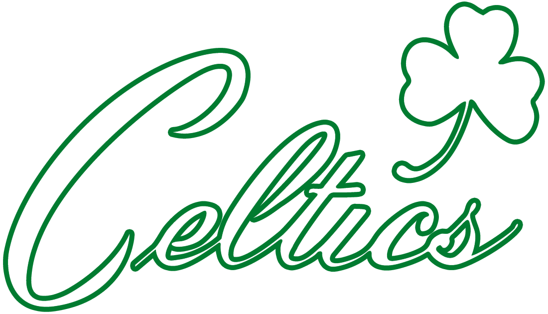 Boston Celtics Logo Alternate Logo (1946/47-Pres) - Celtics in white script with a cloverleaf above it on green SportsLogos.Net