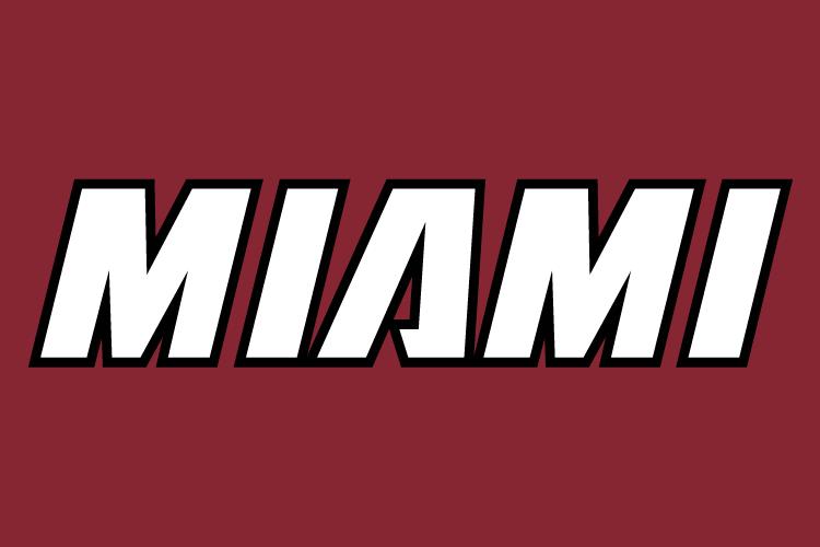 Miami Heat Logo Wordmark Logo (1999/00-Pres) - Miami in white with black outline on red, worn on Miami Heat alternate jersey SportsLogos.Net