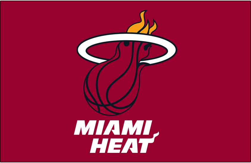 Miami Heat Logo Primary Dark Logo (1999/00-Pres) - Red basketball with flames goes through a white hoop on red SportsLogos.Net