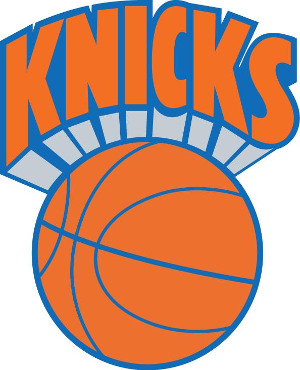 New York Knicks Logo Primary Logo (1989/90-1991/92) - Knicks in orange over an orange basektball SportsLogos.Net