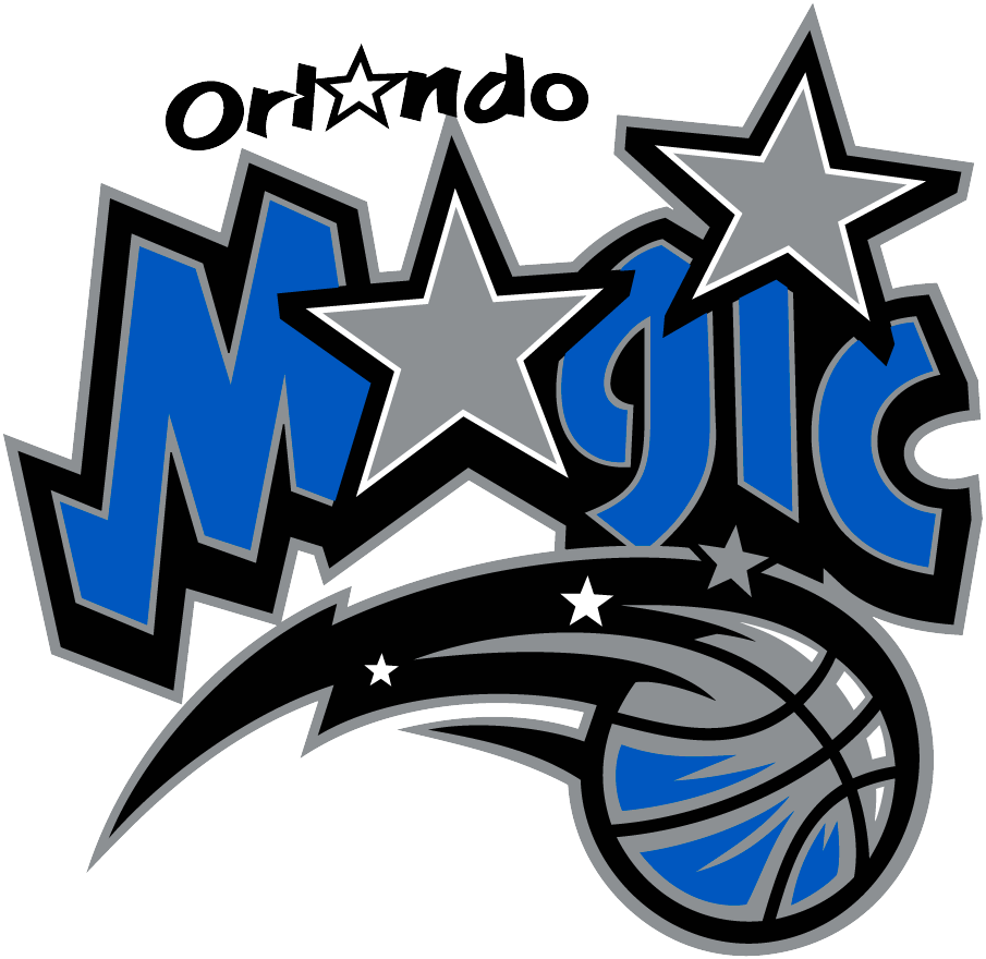 Orlando Magic Logo Primary Logo (2000/01-2009/10) - Magic in blue with a silver star in place of the a, a basketball underscores below SportsLogos.Net