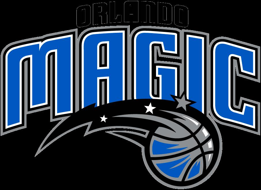 Orlando Magic Logo Primary Logo (2010/11-Pres) - Magic in blue arched beneath Orlando in black above a basketball SportsLogos.Net