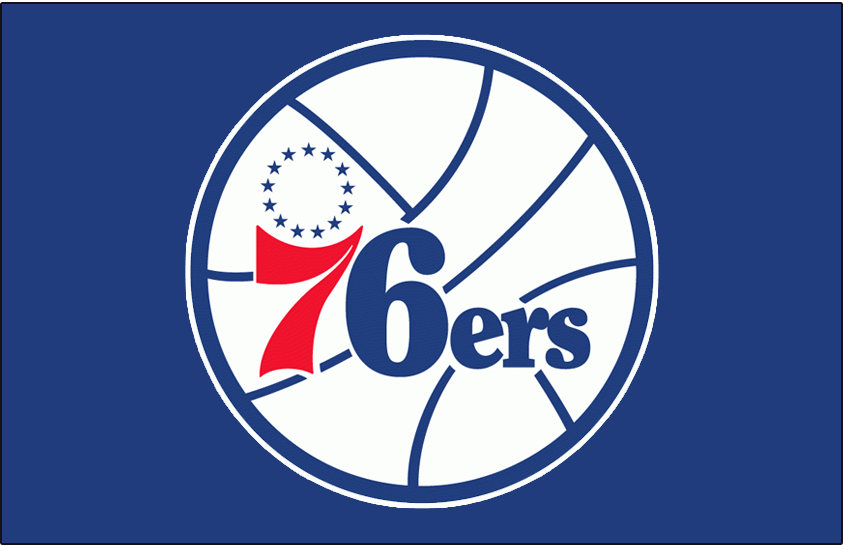 Philadelphia 76ers Logo Primary Dark Logo (1977/78-1996/97) - Philadelphia 76ers logo on blue SportsLogos.Net