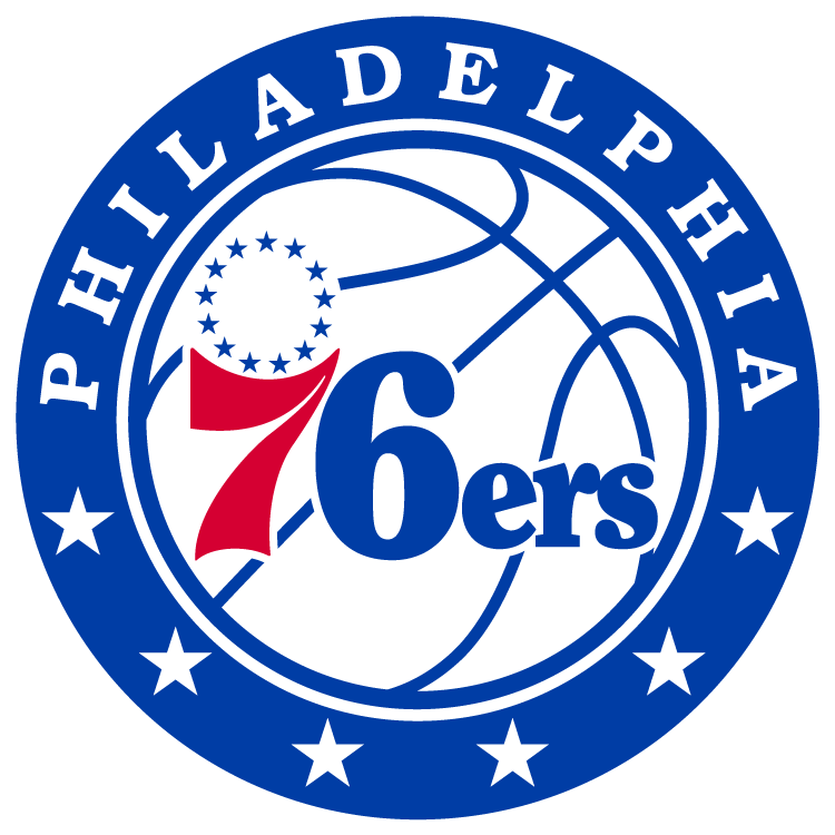 Philadelphia 76ers Logo Primary Logo (2015/16-Pres) - 76ers in blue and red on a modernized basketball, 13 blue stars above the 7. Inside a blue roundel with PHILADELPHIA arched above and 6 stars below SportsLogos.Net