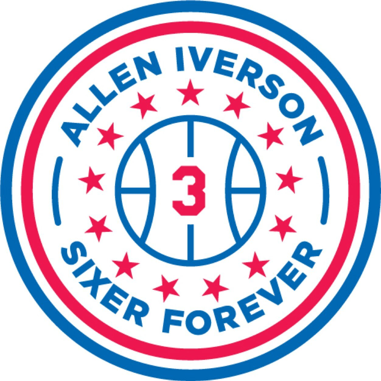 Philadelphia 76ers Logo Misc Logo (2013/14) - Allen Iverson Sixer Forever -- Patch worn by the Philadelphia 76ers on March 1, 2014 to commemorate retiring of the jersey number of Allen Iverson SportsLogos.Net