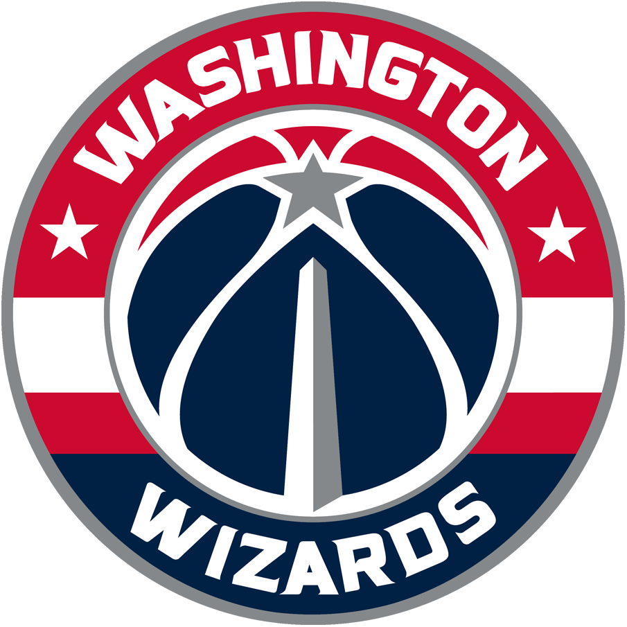 Washington Wizards Logo Primary Logo (2015/16-Pres) - Roundel with team name added to previous secondary logo featuring the Washington Monument, eliminating usage of the now-defunct wizard, leaping over a moon logo. 3 stars represent DC, MD and VA. SportsLogos.Net