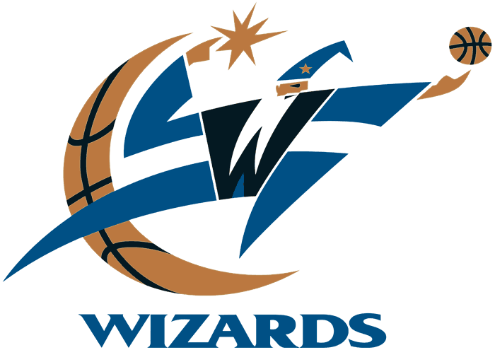 Washington Wizards Logo Primary Logo (1997/98-2006/07) - A wizard conjuring a basketball with a quarter moon SportsLogos.Net