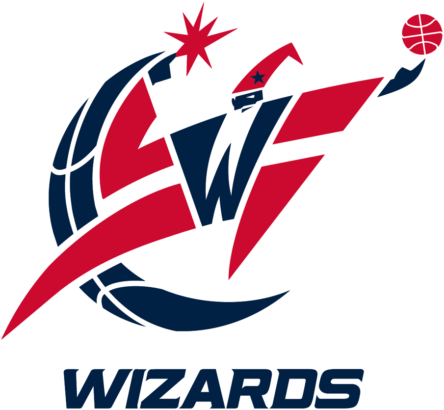 Washington Wizards Logo Primary Logo (2011/12-2014/15) - Red, white and blue wizard holding basketball with WIZARDS below in italics SportsLogos.Net