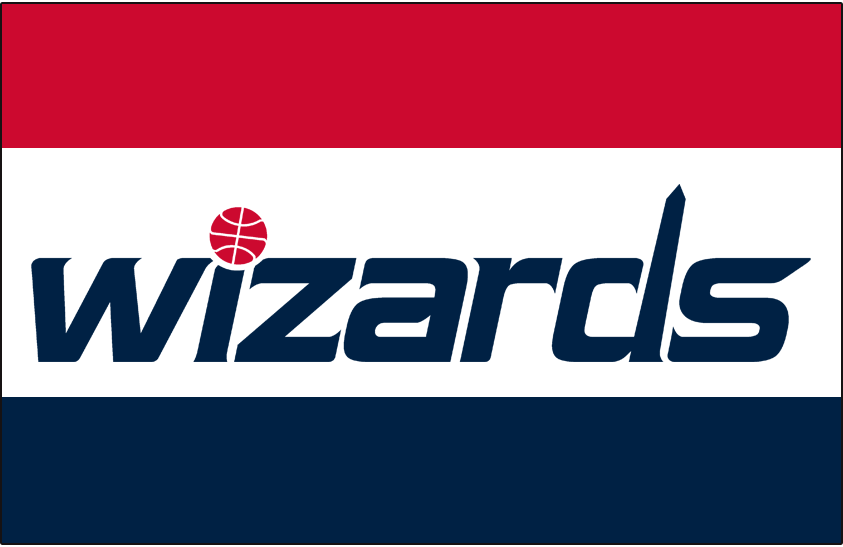 Washington Wizards Logo Jersey Logo (2011/12-Pres) - Wizards in blue lowercase letters, a red basketball dotting the I and the Washington Monument styled from the D.  Worn on Washington Wizards white home uniforms. SportsLogos.Net
