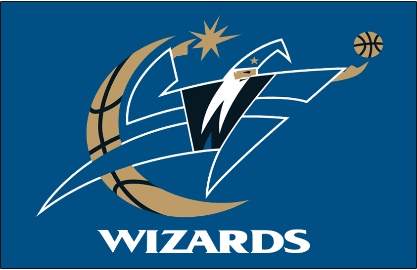 Washington Wizards Logo Primary Dark Logo (2007/08-2010/11) - A wizard wearing blue holds a basketball in front of a quarter-moon with basketball seams on blue SportsLogos.Net