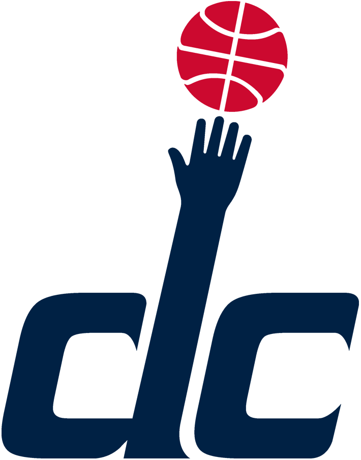 Washington Wizards Logo Alternate Logo (2011/12-Pres) - DC in blue lowercase letters, a hand from the top of the D under a red basketball, a nod to the Washington Bullets logo of the 1970s.   SportsLogos.Net