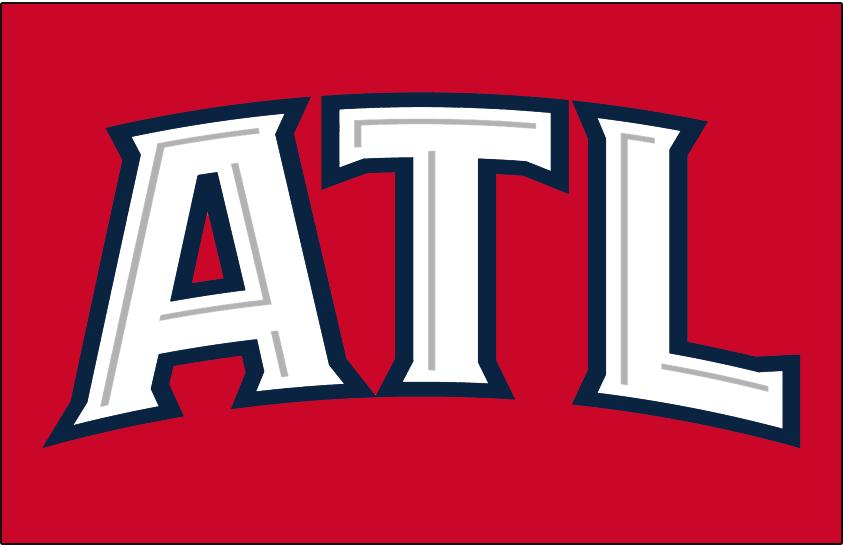 Atlanta Hawks Logo Jersey Logo (2009/10-2014/15) - ATL in white outlined in blue on red. Worn on Atlanta Hawks red alternate uniform SportsLogos.Net