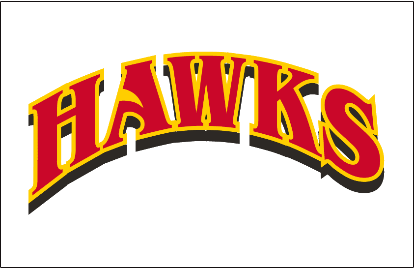 Atlanta Hawks Logo Jersey Logo (1999/00-2006/07) - HAWKS arched in red with yellow outline and black drop shadow. Beak of hawk in the A of HAWKS. Worn on home jersey. SportsLogos.Net