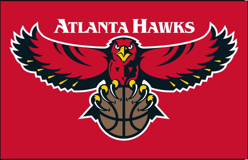 Atlanta Hawks Logo Primary Dark Logo (1995/96-2006/07) - Primary on red SportsLogos.Net