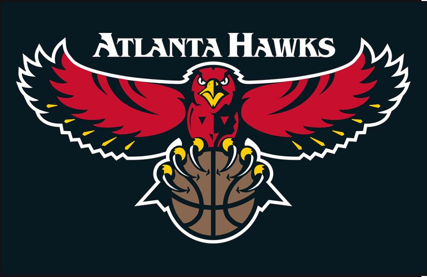 Atlanta Hawks Logo Primary Dark Logo (1995/96-2006/07) - Primary on black SportsLogos.Net