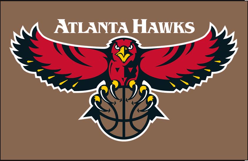Atlanta Hawks Logo Primary Dark Logo (1995/96-2006/07) - Primary on gold SportsLogos.Net