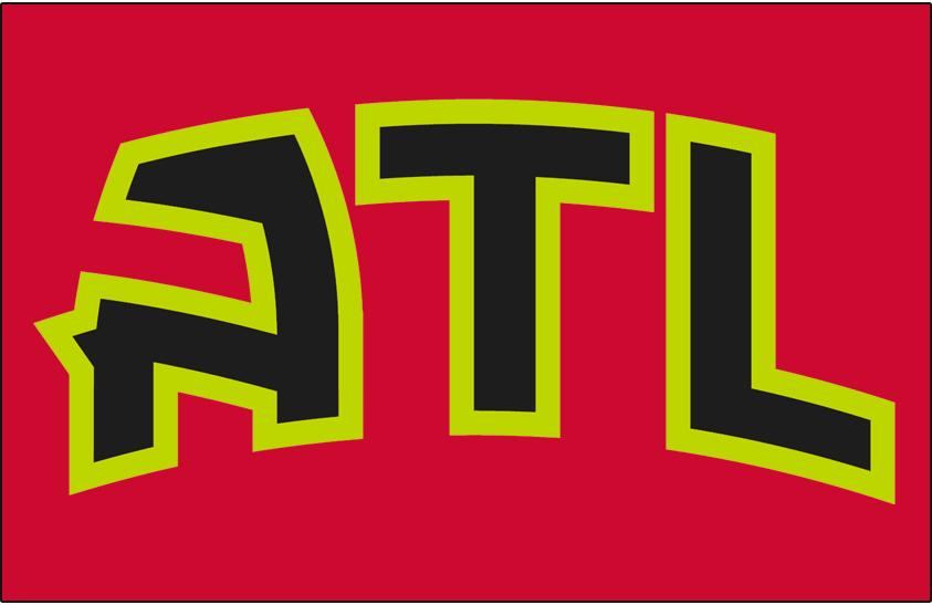 Atlanta Hawks Logo Jersey Logo (2015/16-2019/20) - ATL IN black outlined in volt green on red, worn on Hawks alternate jersey starting in 2015-16 season SportsLogos.Net