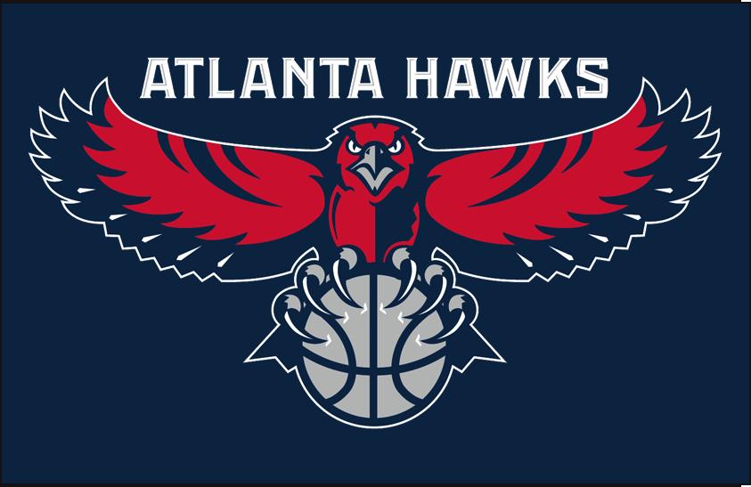 Atlanta Hawks Logo Primary Dark Logo (2007/08-2014/15) - Primary on blue SportsLogos.Net