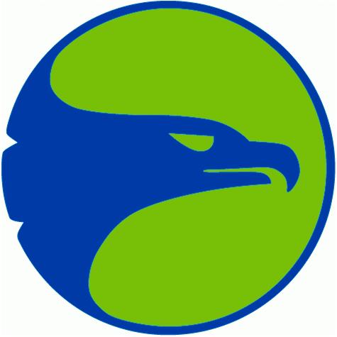 Atlanta Hawks Logo Primary Logo (1970/71-1971/72) - A hawks head in blue inside of a lime green circle SportsLogos.Net