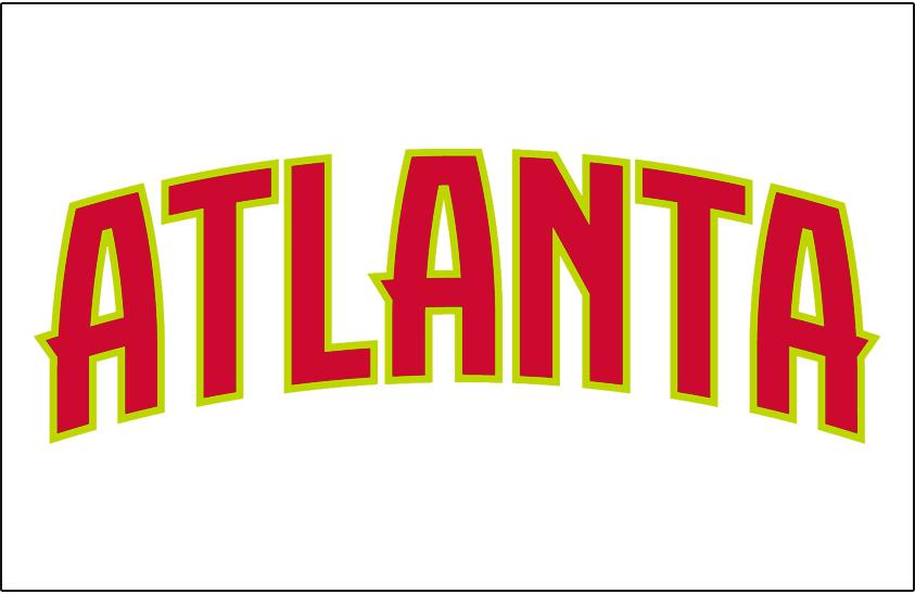 Atlanta Hawks Logo Jersey Logo (2015/16-2019/20) - ATLANTA IN red outlined in volt green on white, worn on Hawks home jersey starting in 2015-16 season SportsLogos.Net