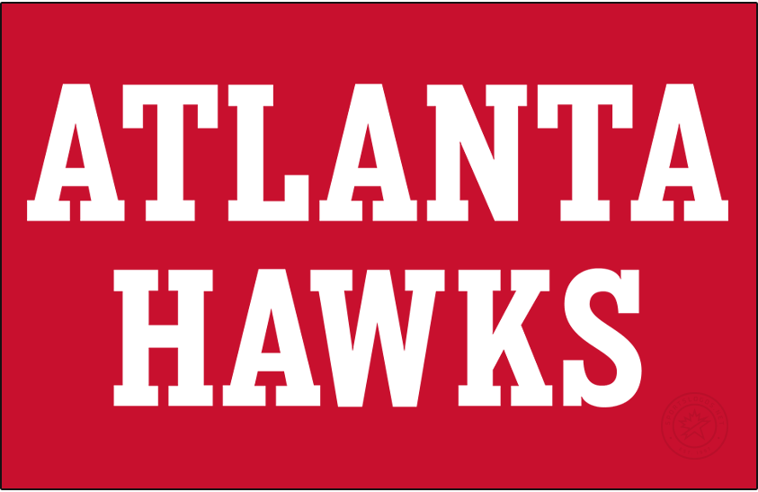 Atlanta Hawks Logo Wordmark Logo (2020/21-Pres) - For the 2020-21 NBA season, the Atlanta Hawks updated the fonts used throughout their entire set including a change to their official wordmark logos. This version shows the new block-style serifed typeface stacked vertically in white on a red background. SportsLogos.Net