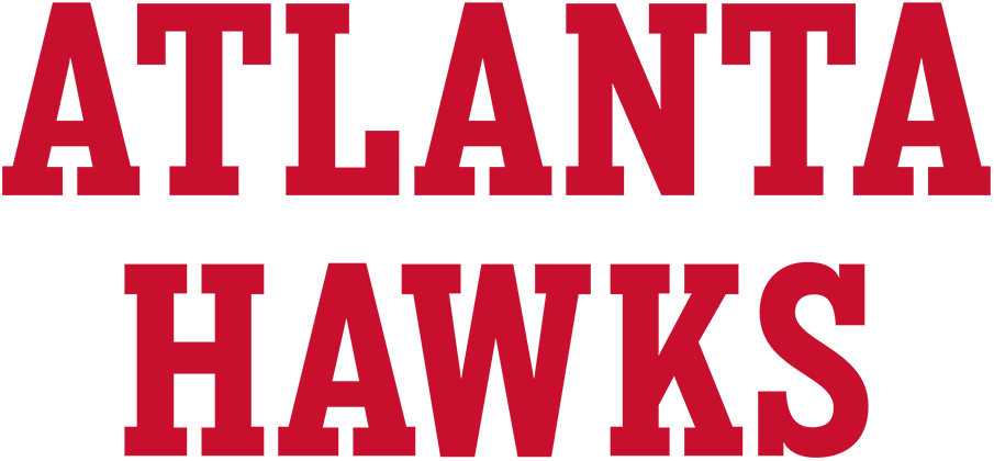 Atlanta Hawks Logo Wordmark Logo (2020/21-Pres) - For the 2020-21 NBA season, the Atlanta Hawks updated the fonts used throughout their entire set including a change to their official wordmark logos. This version shows the new block-style serifed typeface stacked vertically in red. SportsLogos.Net