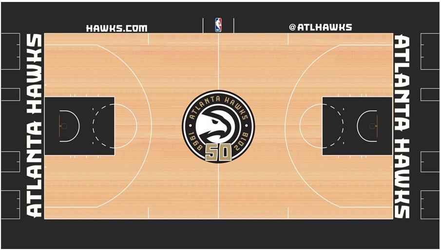 Atlanta Hawks Playing Surface Playing Surface (2018/19) - Atlanta Hawks alternate/city edition special 50th anniversary court design SportsLogos.Net