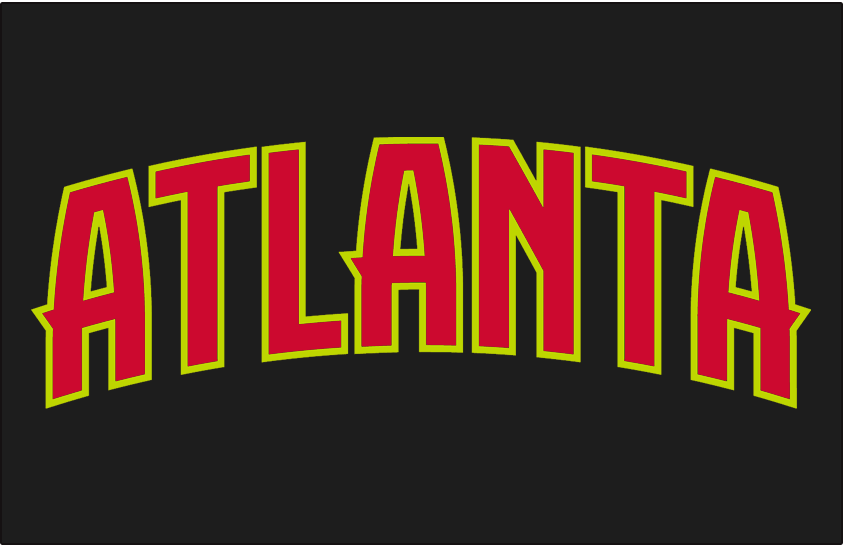 Atlanta Hawks Logo Jersey Logo (2015/16-2019/20) - ATLANTA IN red outlined in volt green on black, worn on Hawks road jersey starting in 2015-16 season SportsLogos.Net
