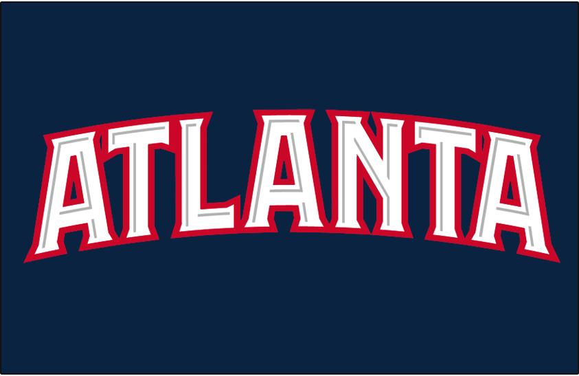 Atlanta Hawks Logo Jersey Logo (2007/08-2014/15) - Atlanta in white outlined in red, worn on Atlanta Hawks road jersey SportsLogos.Net