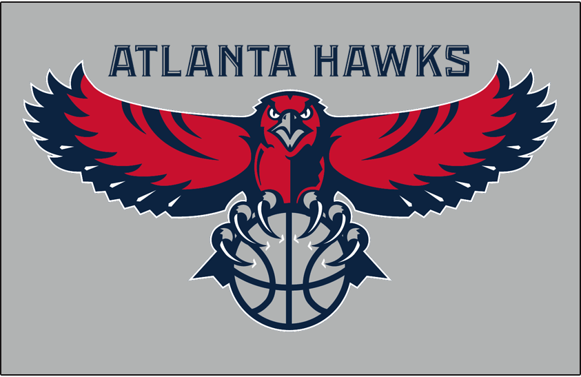 Atlanta Hawks Logo Primary Dark Logo (2007/08-2014/15) - Primary on silver SportsLogos.Net
