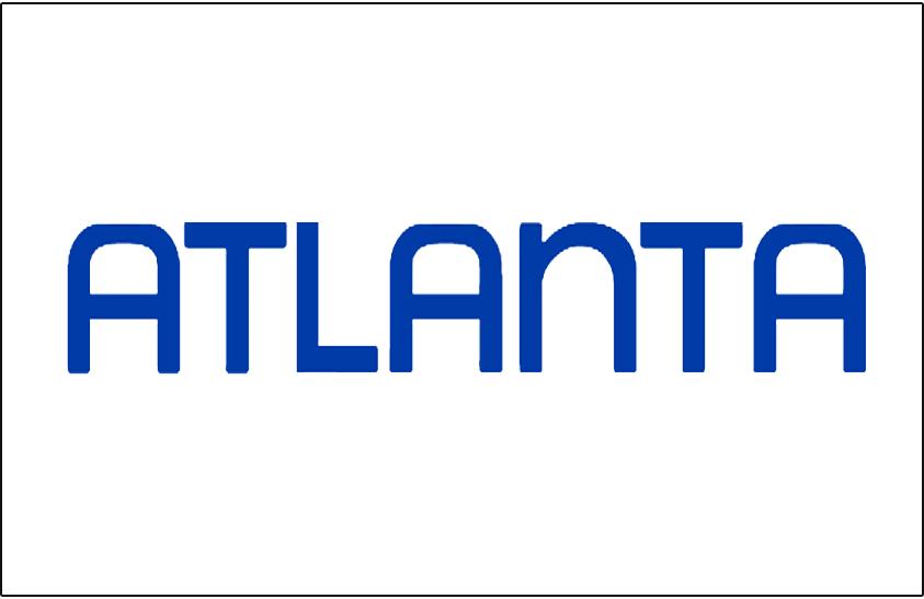 Atlanta Hawks Logo Jersey Logo (1970/71-1971/72) - Atlanta in blue on white, worn on Atlanta Hawks home jersey SportsLogos.Net