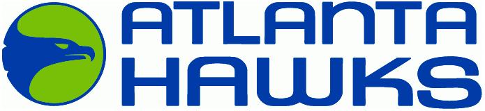 Atlanta Hawks Logo Wordmark Logo (1970/71-1971/72) - A blue hawk's head on a lime green circle, team name to the right SportsLogos.Net