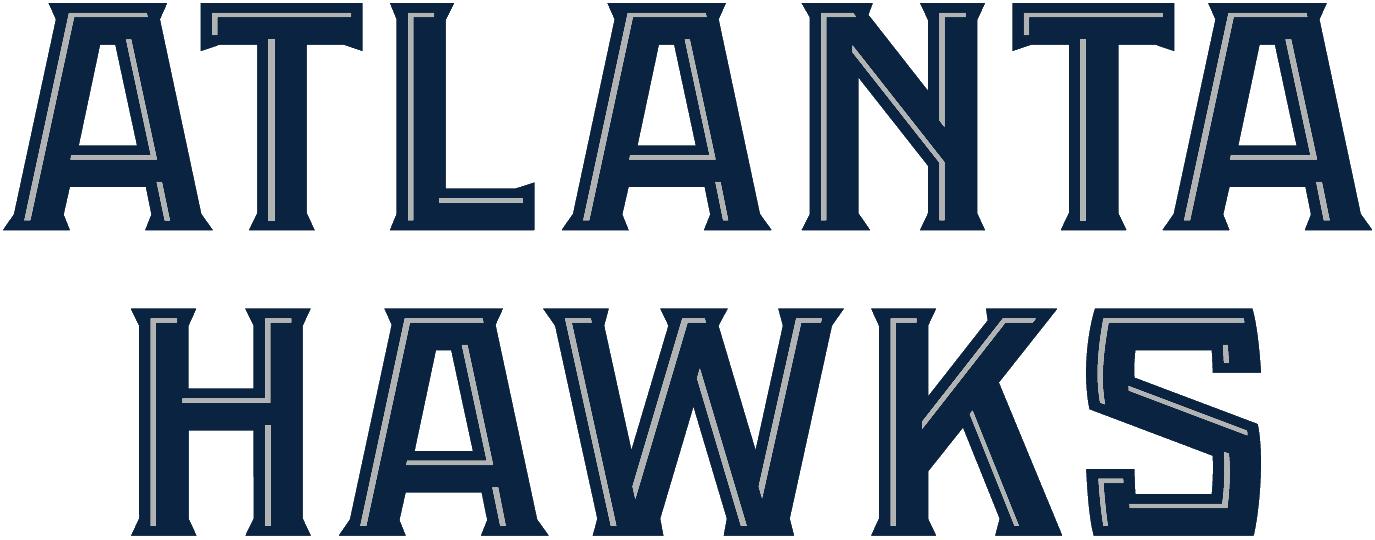 Atlanta Hawks Logo Wordmark Logo (2007/08-2014/15) - ATLANTA HAWKS in blue and silver, stacked SportsLogos.Net