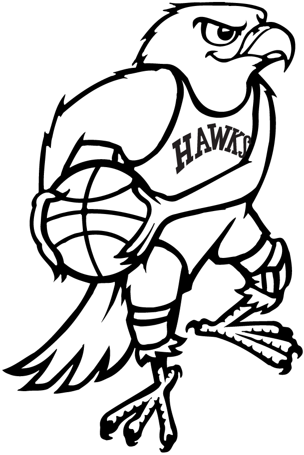 Atlanta Hawks Logo Primary Logo (1968/69) - A cartoonish Hawk holding a basketball under his arm SportsLogos.Net