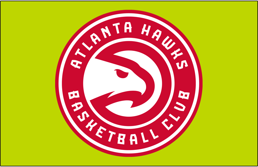 Atlanta Hawks Logo Primary Dark Logo (2015/16-2019/20) - Primary on Green Volt SportsLogos.Net