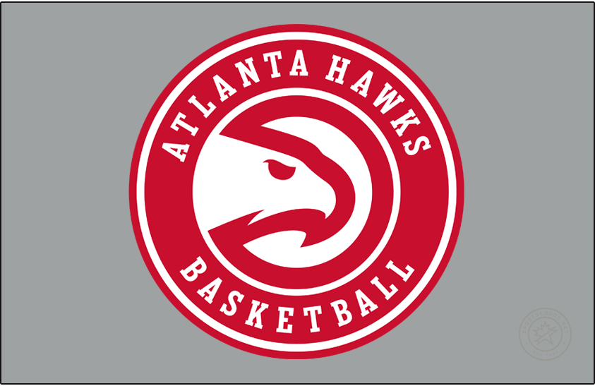Atlanta Hawks Logo Primary Dark Logo (2020/21-Pres) - A slight update to the Atlanta Hawks Global Icon logo, shown here on a grey/silver background, for the 2020-21 NBA season, the team updated the font used for the wording in the roundel and also removed the word