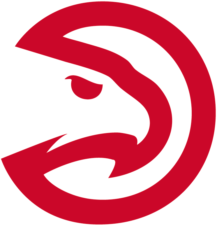 Atlanta Hawks Logo Alternate Logo (2014/15) - Red and white hawk head inside of a circle, modernized version of old team primary logo. Commonly, but not officially, known as the Pac-man logo SportsLogos.Net