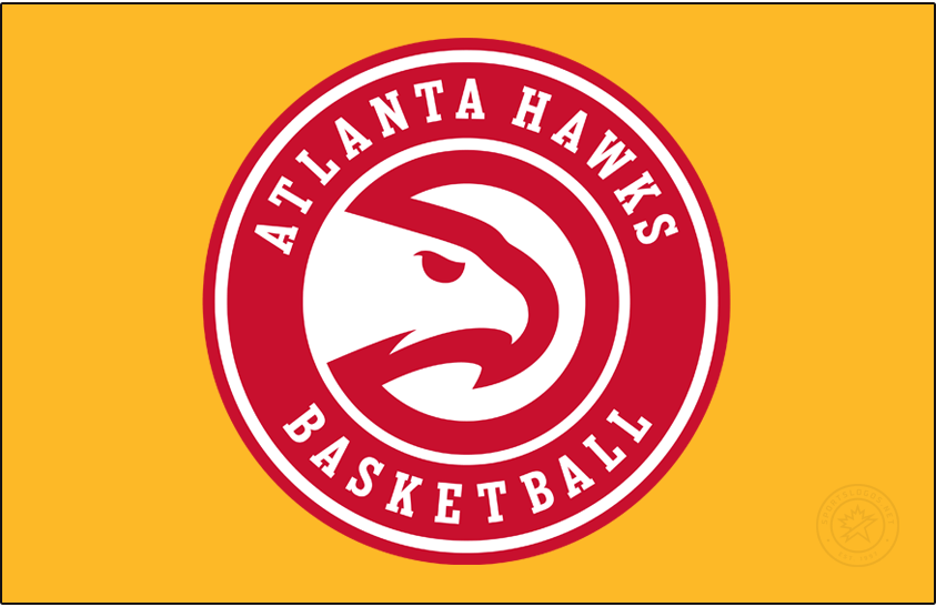 Atlanta Hawks Logo Primary Dark Logo (2020/21-Pres) - A slight update to the Atlanta Hawks Global Icon logo, shown here on a gold/yellow background, for the 2020-21 NBA season, the team updated the font used for the wording in the roundel and also removed the word