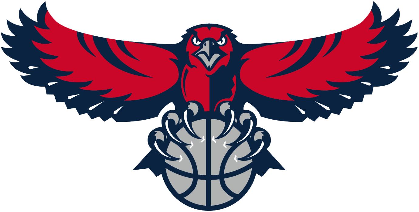 Atlanta Hawks Logo Alternate Logo (2007/08-2014/15) - Red and blue hawk carrying a silver basketball SportsLogos.Net
