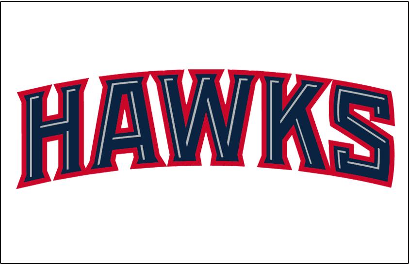Atlanta Hawks Logo Jersey Logo (2007/08-2014/15) - Hawks in blue outlined in red, worn on Atlanta Hawks home jersey SportsLogos.Net